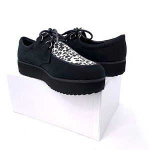 Round Toe Lace Up Cheetah Flatform Creeper